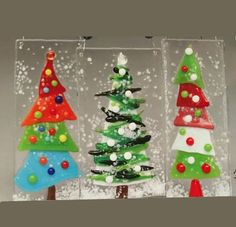 Fused Glass Ornaments by Karen Nan Varela at the 2018 Yes Store, Santa Barbara, California Fused Glass Plates, Stained Glass Ornaments, Fused Glass Art, Glass Ceramic, Glass Christmas Decorations, Glass Christmas Tree Ornaments, Felt Christmas, Homemade Christmas, Christmas Crafts