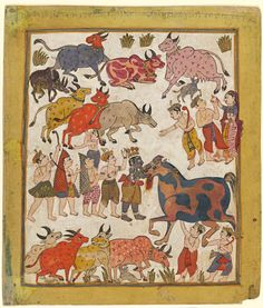 Indian, Krishna slaying the horse demon, Keshi, c. 1640, Gujarat, India; opaque watercolour and silver paint on wasli paper. Felton Bequest, 1976 (AS25-1976).