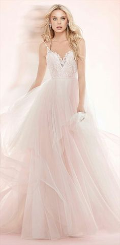 Ballerina style  wedding dress in English tulle   silk taffeta with     Cherry Blossom lace and tulle bridal ball gown  spaghetti strap sweetheart  lace bodice  full tiered tulle skirt