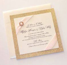 Marilyn  Blush Pink and Gold Glitter Wedding Invitation by Embellished Paperie