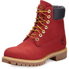 Timberland 6 Premium Waterproof Hiking Boot ($200) ❤ liked on Polyvore featuring men's fashion, men's shoes, men's boots, men's work boots, shoes, red, mens water proof boots, mens round toe cowboy boots, mens lace up boots and mens red boots