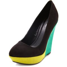 Pointed Color Block Sueded Wedge ❤ liked on Polyvore