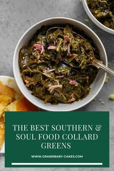 These authentic Soul Food Collard Greens are braised in a savory meat flavored and perfectly spiced pot liquor resulting in an amazing tender silky texture. Serve with cornbread or candied yams for a true downhome meal. Looking for the real deal? Vegetable Side Dishes, Vegetable Recipes, Southern Collard Greens, Best Collard Greens Recipe, Mustard Greens Recipe Southern, Crockpot Collard Greens, Cooking Recipes, Gourmet, Pork