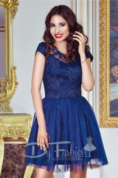 Rochie scurta eleganta bleumarin cu broderie Short Sleeve Dresses, Dresses With Sleeves, Dark Blue, Fashion, Embroidery, Moda, Sleeve Dresses, Deep Blue, Fashion Styles
