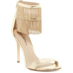 Via Spiga Tolsa Chain Fringe Sandal ($140) ❤ liked on Polyvore featuring shoes, sandals, heels, gold, gold heel sandals, gold chain sandals, high heel shoes, gold high heel shoes and open toe sandals