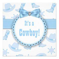 Blue Cowboy Baby Boy Shower Invitations