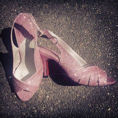 Pink glitter open toe sandals for the bride Ms. Charlene Tan.