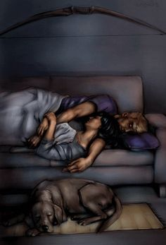 Clint Barton & Kate Bishop Pizza Dog a.k.a. Lucky Hawkeye squared fall asleep watching cowboy movies alone