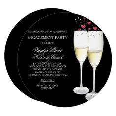 Shop Champagne & Heart Engagement Party Invitation created by Zizzago. Surprise Engagement Party, Engagement Party Invitations, Weeding, Paper Design, Custom Invitations, Rsvp, Special Occasion, Champagne, Heart
