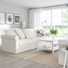GRÖNLID Canapé 3 places, Inseros blanc - IKEA Ikea Living Room, Living Room White, Small Living Rooms, Living Room Designs, Living Room Furniture, Design Ikea, U Shaped Sofa, Deep Seat Cushions, White Sofas