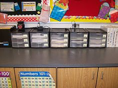 Drawers to plan weeks ahead with all of the copies made (math sheets, morning work, etc.)