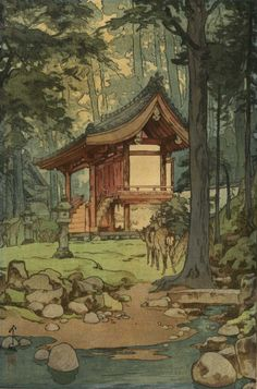 Hiroshi Yoshida / 吉田 博 (September 1876 - April was a Japanese painter and woodblock printmaker. He is regarded as one of the greatest artists of the shin-hanga style, and is noted especially for his excellent landscape prints. Japanese Art Prints, Japanese Artwork, Japanese Painting, Hiroshi Yoshida, Illustration Art, Illustrations, Art Asiatique, Art Japonais, Scenery Wallpaper