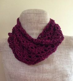 Lacy Fuchsia Crochet Infinity Scarf | Embrace the warmth of this dark fuchsia color and add a great lace crochet pattern to your winter wardrobe.