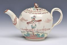 AN ENGLISH, PROBABLY LEEDS, CREAMWARE TEAPOT and cover, each side painted with a scene of Christ on the cross, circa 1780