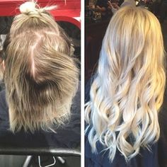 Gorgeous hair transformation with hotheads hair extensions and bright blonde :: RedBloom Salon