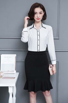 Women's #white long sleeve button #shirts contrast color design, Curved hem, casual, outdoor, leisure, work Occasions