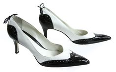 Franco Sarto White Black Two Toned Pointed Wingtip Pump High Heels 8M #FrancoSarto #PumpsClassics #SpecialOccasion