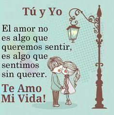 Tú y Yo - El amor no es algo que queremos sentir, es algo que sentimos sin querer. Te Amo Mi Vida!