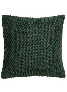 Moss-knit cushion cover with woven cotton fabric at back. Size 20 x 20 in. Knitted Cushion Covers, Knitted Cushions, Green Cushions, Scatter Cushions, Green Throw Pillows, Knit Pillow, Home Decor Furniture, Room Colors, Trends