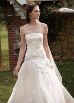 Strapless Organza Print Ball Gown Wedding Dress at Amazon Women?s Clothing store: Dresses by samto11