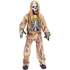 Small (4-6), Medium (8-10), Large (12-14) Includes: Mask, Shirt, Chestpiece, Pants And Gloves. Zombie Halloween Costumes, Boy Costumes, Halloween Party, Fun World, Children, Boys, Gloves, Shirts