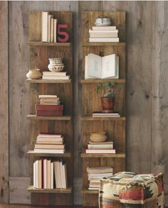 A DIY version of this shelf to flank the bed/headboard.  All the functionality of shelving, but visually lighter than a bookcase.