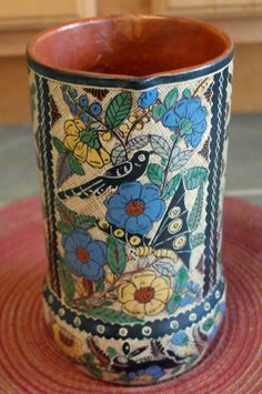 1950s Tomas Lucano Petatillo Tlaquepaque Mexican Pottery Pitcher with Black Birds, Flowers and Butterfly