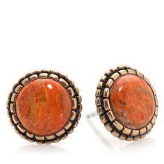 "Shop Studio Barse Orange Sponge Coral Bronze ""Fashion Post"" Stud Earrings, read customer reviews and more at HSN.com."