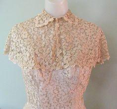 Vintage Lace Cocktail Dress & Cape, 40's / 50's