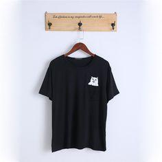 KLV 2017 Women Summer Style T Shirt Print Middle Finger Pocket Cat Harajuku O-neck Short Sleeve Cotton Couple Tee Plus Size