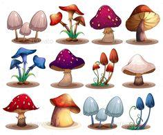 Buy Mushroom Set by interactimages on GraphicRiver. Illustration of a set of different mushrooms Mushroom Paint, Mushroom Drawing, Cartoon Mushroom, Image Deco, Arte Sailor Moon, Art Mignon, Art Et Illustration, Grafik Design, Art Pages