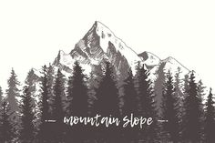 fir forest background with contours of the mountains hand drawn vector illustration Mountain Sketch, Mountain Drawing, Mountain Tattoo, Forrest Tattoo, Forest Drawing, Forest Sketch, Petit Tattoo, Forest Background, Forest Design