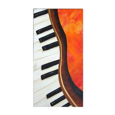 DANCING PIANO, 12x24 Acrylic Canvas Original Painting, Home Decor Wall Art, Music Themed Painting