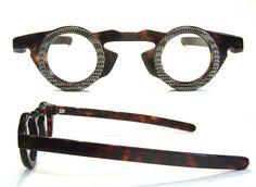 1980's French Round Snake/Tortoise Vintage Eyeglass Frames France Les Halles. $425.00, via Etsy.