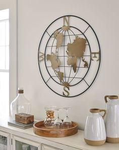 World Map Wall Decor, Diy Wall Decor, Office Wall Decor, Bedroom Decor, Metal Wall Sculpture, Metal Wall Art, Compass Design, Globe Decor, Contemporary Wall Decor