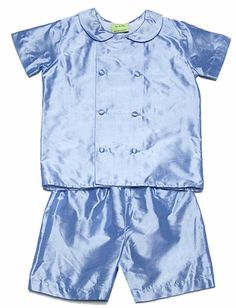 Le Za Me Toddler Boys Baylor Double Breasted Shorts Set - Blue Silk