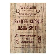 Country Barn Wood Typography Wedding Invitations