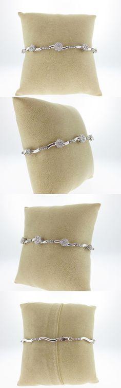 Diamond 10976: Genuine 1.35Cts Diamonds Solid 10K White Gold Flowers 7.25 Bracelet -> BUY IT NOW ONLY: $486.5 on eBay!