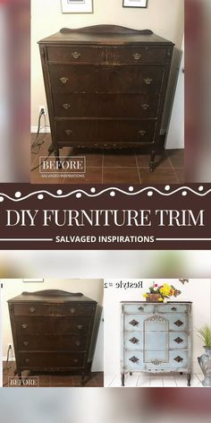 This deep green dresser was refinished with Country Chic Paint products with a black glaze to create Diy Furniture Trim, Create Your Own Furniture, Refurbished Furniture, Repurposed Furniture, Furniture Makeover, Furniture Ideas, Furniture Design, Geek Furniture, Black Painted Furniture