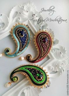 Bead Embroidery Jewelry, Fabric Jewelry, Beaded Embroidery, Embroidery Designs, Diy Jewelry Gifts, Handmade Jewelry, Beaded Brooch, Beaded Earrings, Motif Soutache