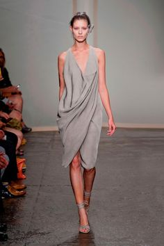 Donna Karan SS13 NYFW draped gray dress #minimalist #fashion #style