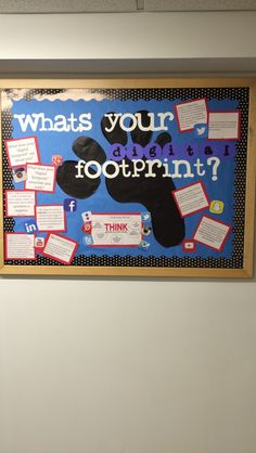 Digital footprint bulletin board - Digital footprint bulletin board - - Electronics gadgets,Electronics apple,Electronics for teens,Electronics organization,Electronics projects Health Bulletin Boards, Class Bulletin Boards, Computer Lab Classroom, Science Classroom, Classroom Door, Teaching Technology, Educational Technology, Technology Lessons, Cyber Safety