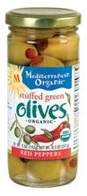 Mediterranean Organic Stuffed Green Olives Red Peppers 8.5 oz.