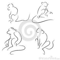 Sketch monkey set on a white background
