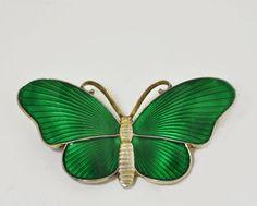 Vintage Sterling Silver Green Enamel Butterfly Brooch or Pin - Norway, Ivor Holth, Scandinavia. $48.00, via Etsy.