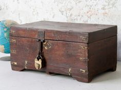 This is an original antique teak and brass large money box - a great addition to a child's bedroom, living room, bathroom or a study. Wooden Trunks, Wooden Chest, Repurposed Furniture, Vintage Furniture, Trunks And Chests, Wooden Storage Boxes, Money Box, Storage Solutions, Kids Bedroom