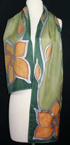 Hand Painted Silk Scarf. Olive Green & by SilkScarvesColorado 11 x 60 45.00 Olive tribe