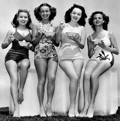 Ice Cream Break! 1940s ladies in swimsuits... Also known as the good ol' days where I may have been considered sexy.