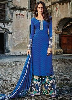 Blue Embroidered Crepe Palazzo Suit