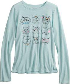7501125747c Mudd Girls 7-16   Plus Size Long Sleeve Graphic Tee